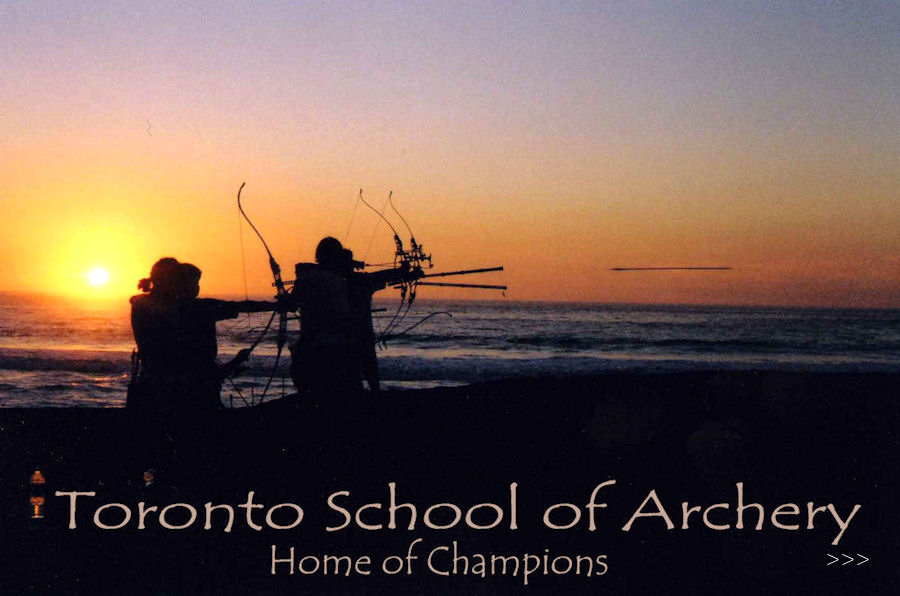 A beach at sunset with archers practicing